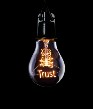 Hanging lightbulb with glowing Trust concept..jpg